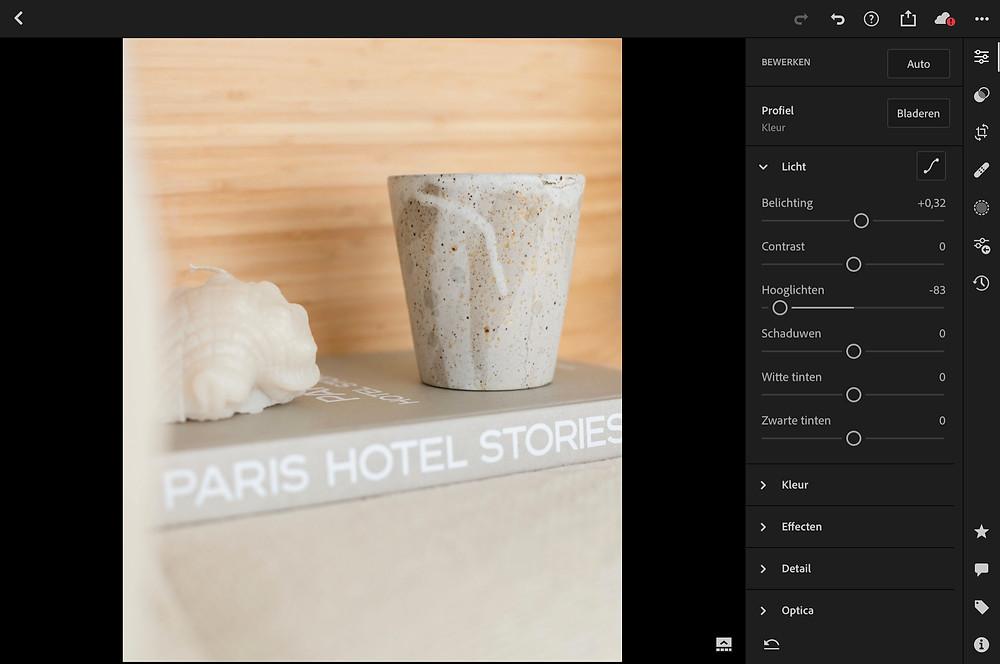 Productfotografie bewerken foto in Lightroom