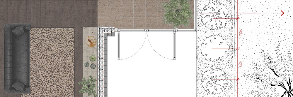 architectural style plan drawing of the relationship of inside and outside within human and natural environments