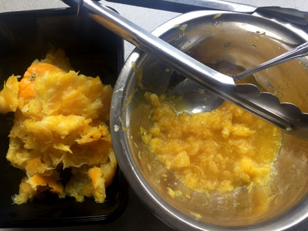 Left/top: Weigh the oranges down with a plate. Right/bottom: Scrape out the pulp when cooked.