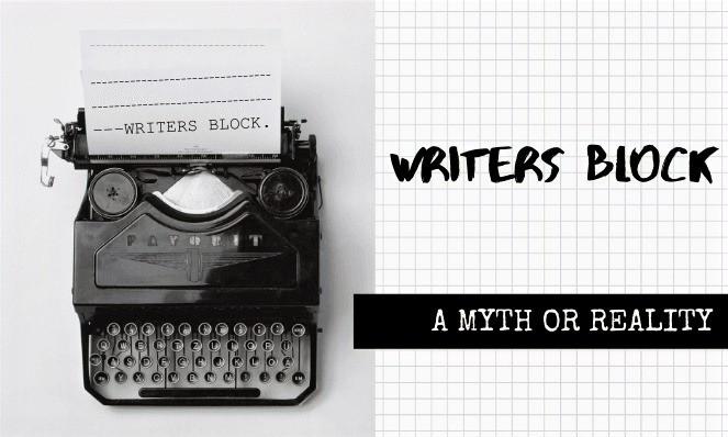 Black typewriter typing writers block