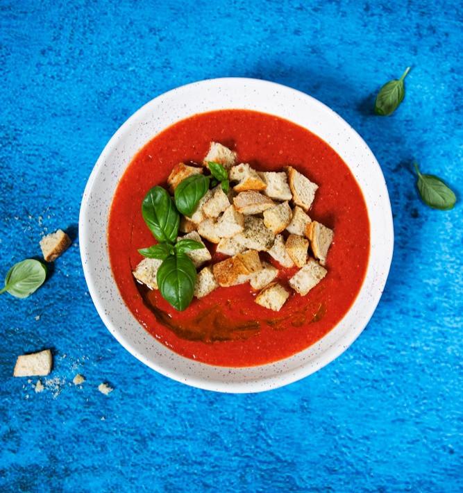 šalta pomidorų ir braškių sriuba, VMG