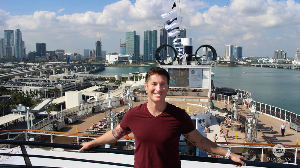 Cruise travel advisor on the MSC Seaside in port in Miami, Florida