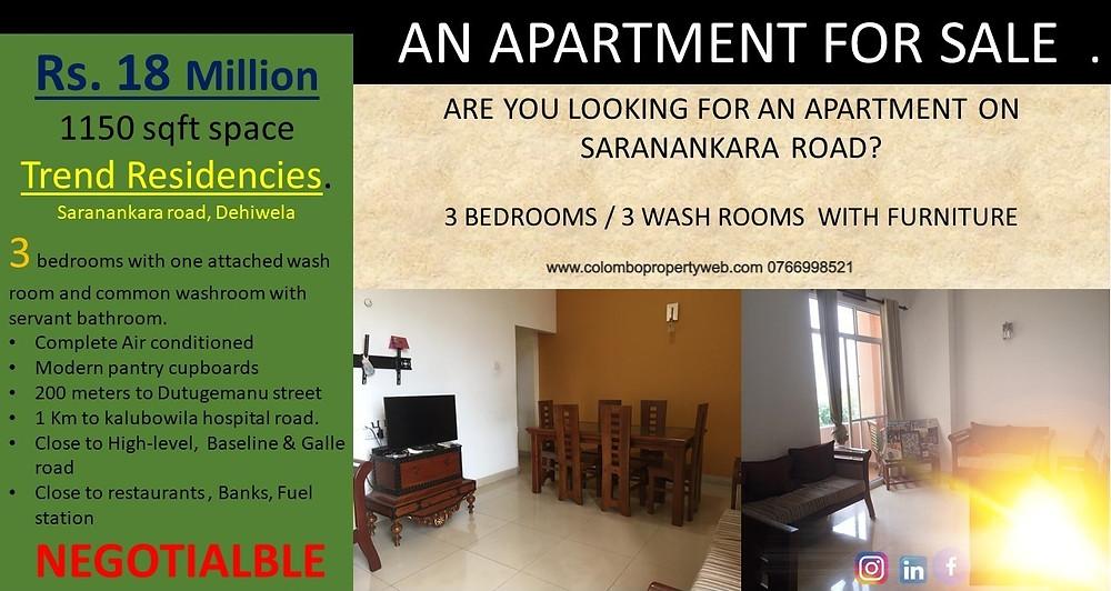 Apartment for Sale on Saranankara Road | 3 Bedrooms 3 Bath | Rs 18 Million | Trend Residencies