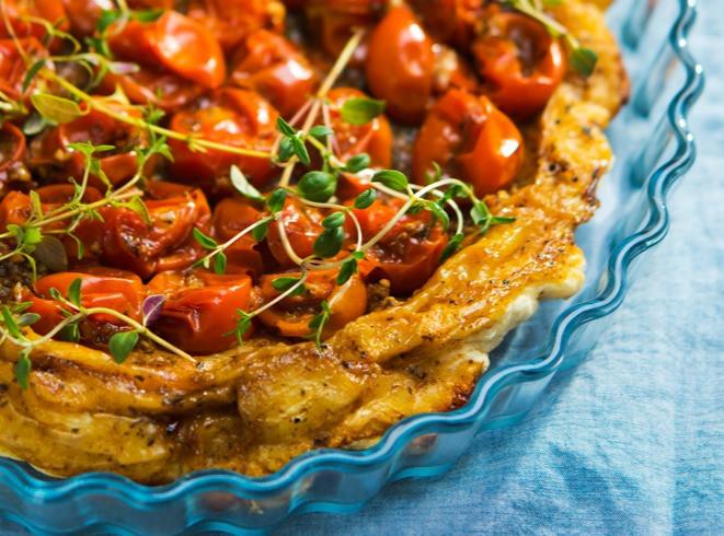 pyragas, tarta su pomidorais, Alfo receptas