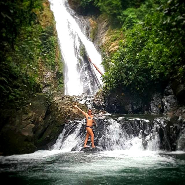 Amy at a waterfall
