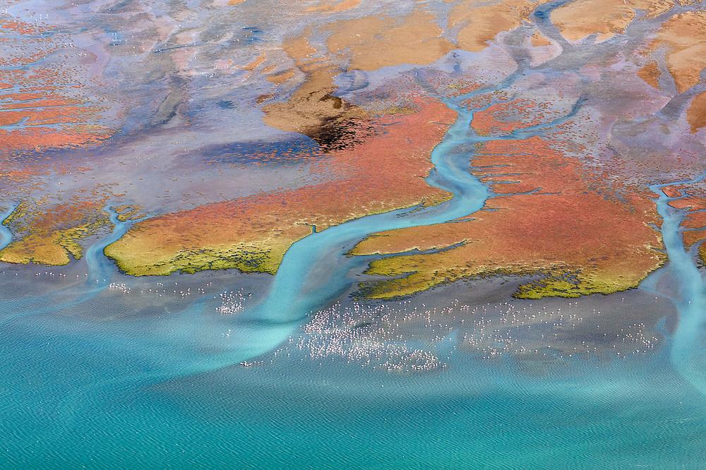walvis bay; lagoon, flamingos, namibia, aerial image,