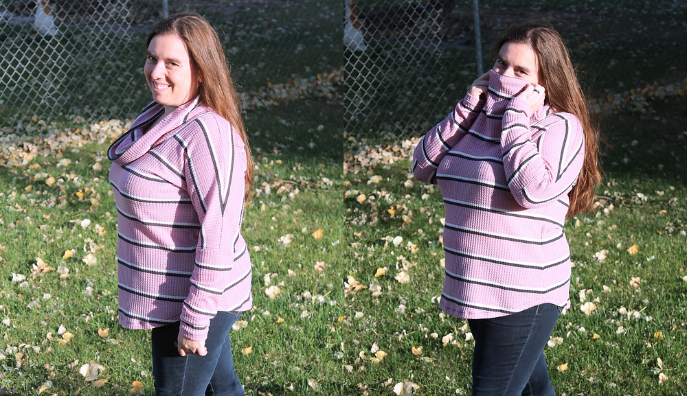 Image is a collage of two pictures. Both are images of a white woman with long brown hair. She is wearing blue jeans and a long sleeved cowl neck dolman in pink waffle knit with white and black stripes. In the first image she is smiling and the cowl is draped nicely, in the second picture she is holding the cowl up to cover her nose.