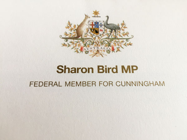 Letter head on the reply from my Federal Member of parliament.