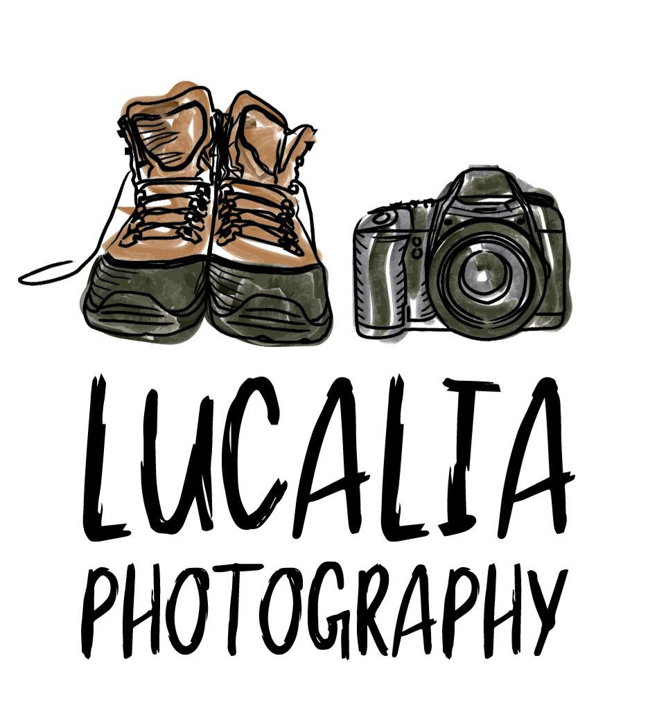 Wairarapa Lucalia Photography logo watercolour hiking boots and camera