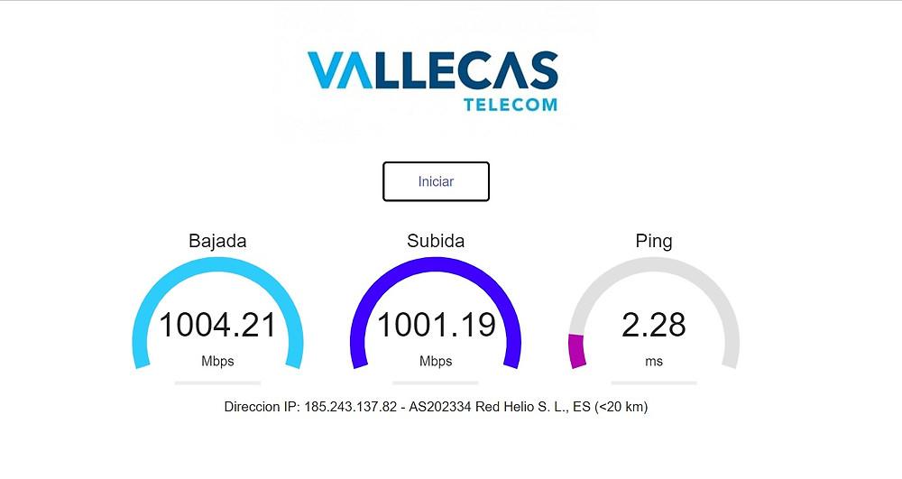 Se puede observar una latencia de 2,28 ms y unas velocidades de subida y bajada de 1Gb
