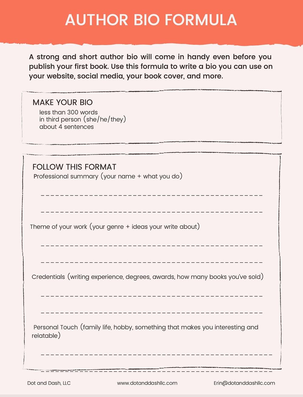an image of the author bio formula worksheet