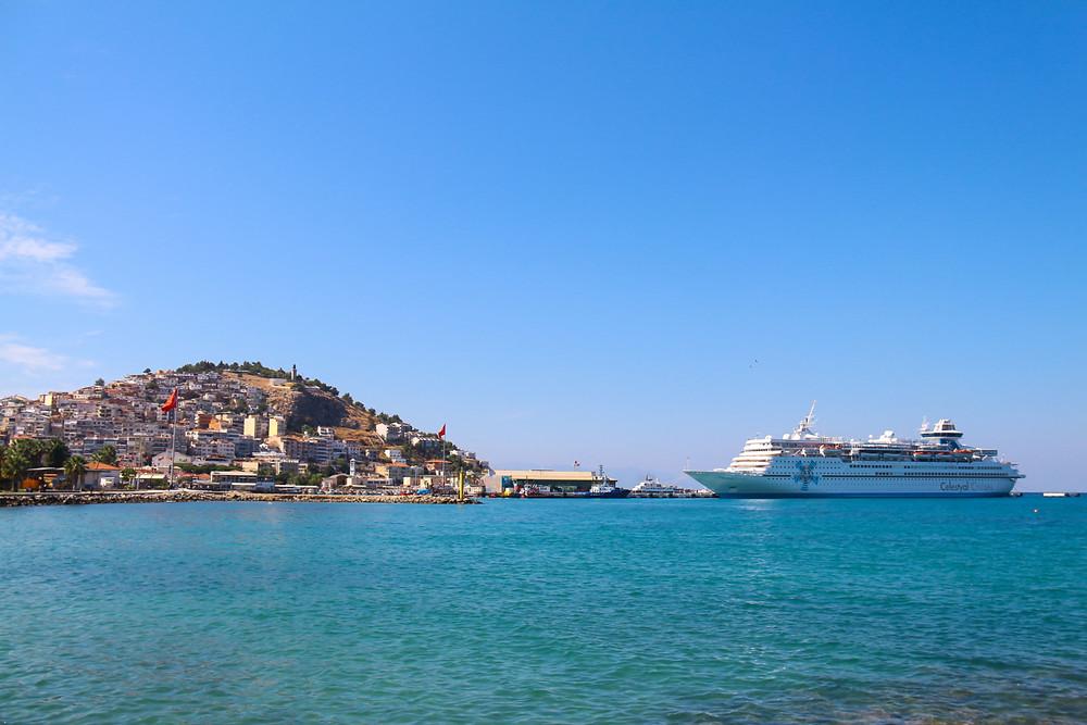 Celestyal Olympia calling to port in Kusadasi, Turkey