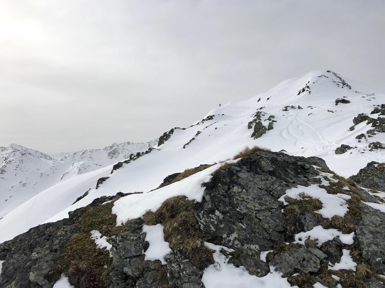 Blick zum Gipfel, Regenfeldjoch Langer Grund