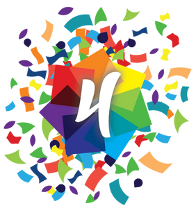Opticalm logo with number four and confetti
