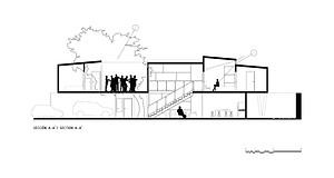 Casa YY. Cubo Rojo Arquitectura. Sección longitudinal