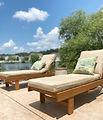 backyard tour, back patio lounge chairs