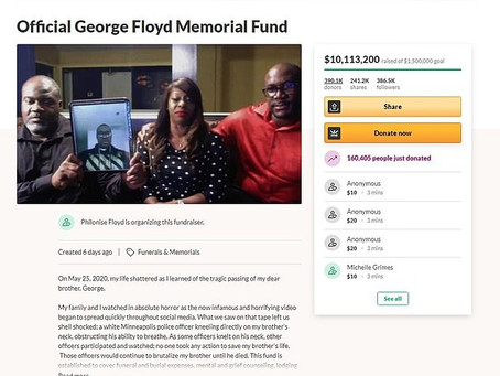 The 'Official George Floyd Memorial Fund' had garnered a staggering $10,113,200