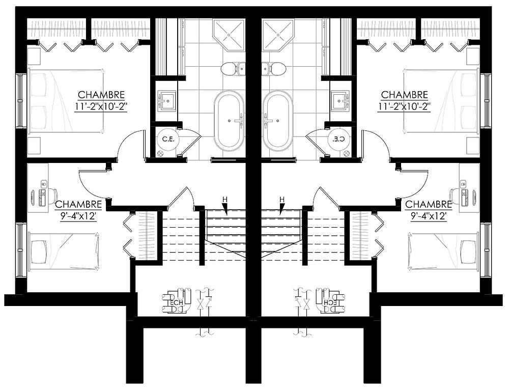 Plan du sous-sol jumelé | Maison modèle