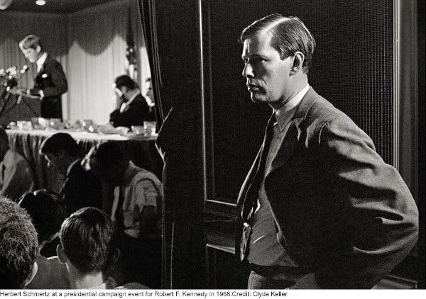 Herbert Schmertz at a presidential campaign event for Robert F. Kennedy  in 1968.Credit...Clyde Keller