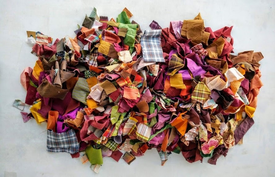 Fabric scraps which will be used to create fabric art