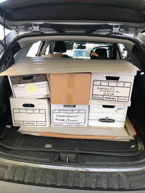 boxes in back of car