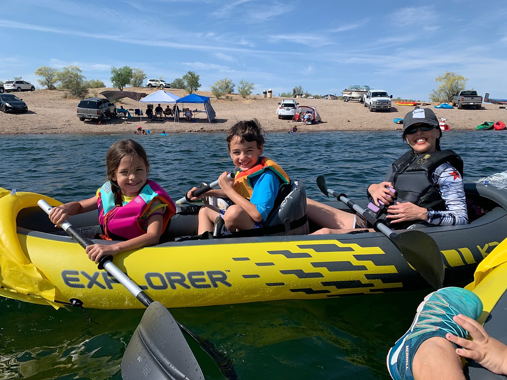 The kids and I on our first outing at Lake Pleasant.