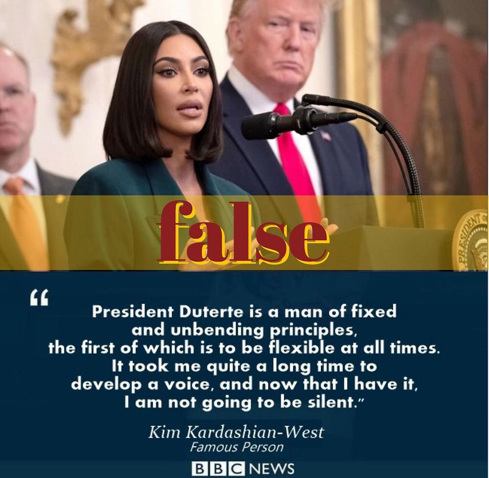 Photo of Kim Kardashian-West misused by pro-Duterte netizens