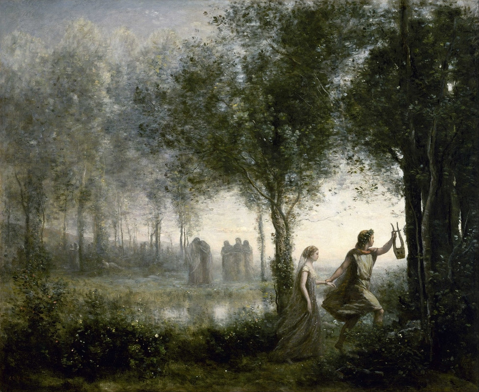 Baptiste Corot, Orpheus leading Eurydice, 1861