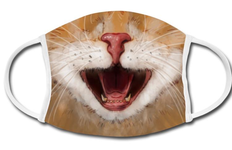 Für KatzenliebhaberInnen gibt es den bissigen Stubentiger auf eine Mund- und Nasenmaske gedruckt. Statt echtem Foto an diesem Beispiel eine Katzen-Illustration. Deshalb aber nicht weniger schön.