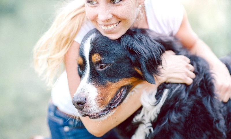 Dog improving their owners mental health with a cuddle