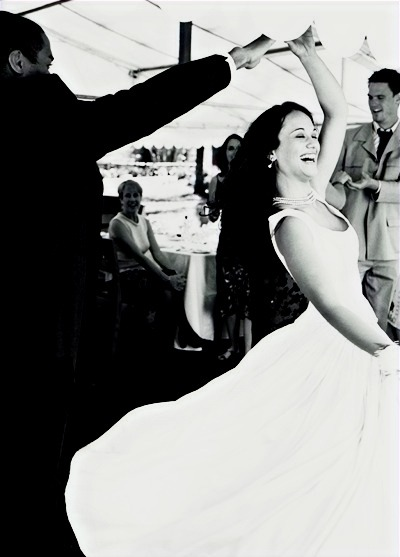 Wedding couple who is having fun during their wedding bridal dance