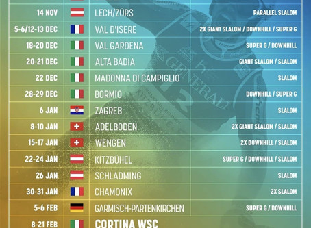 Calendar Audi FIS Alpine Ski World Cup 2020-2021 (Update 4 October)