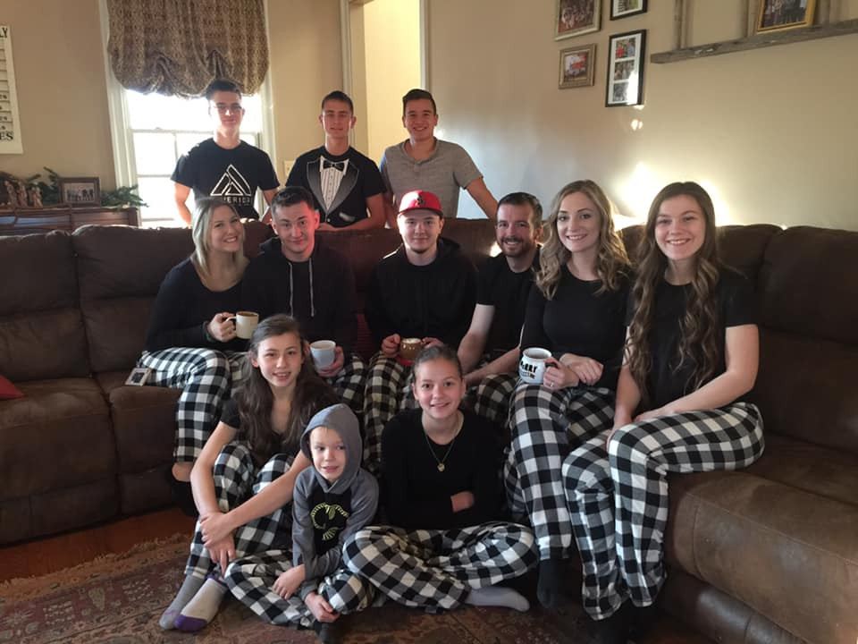 Matching Christmas pajamas is a family tradition