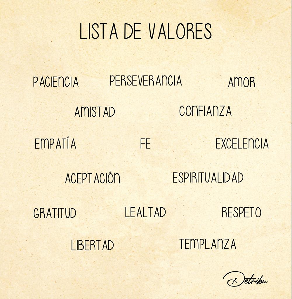 Lista de valores.