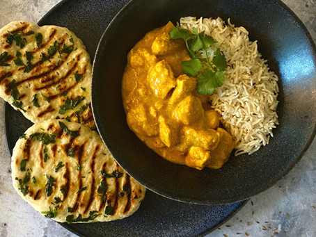 Healthy Chicken Korma and Mini Naan Flatbreads