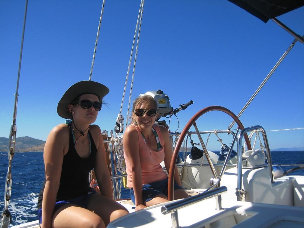 girls on sailing yacht