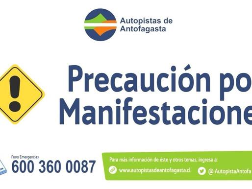 AUTOPISTAS ANTOFAGASTA INFORMA CIERRE DE RUTA 26 POR BARRICADAS EN LA CACHIMBA DEL AGUA