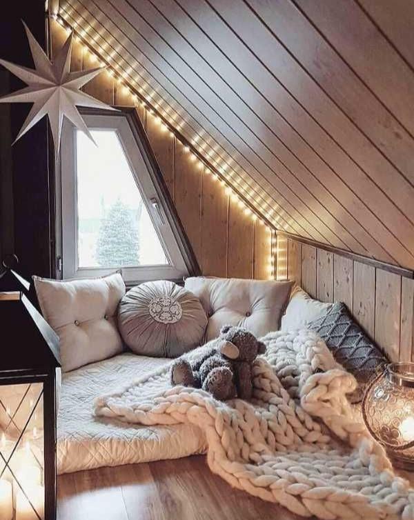 Floor mattress, throw pillows, chunky blanket, lantern, fairy lights, round pillows, lumbar pillows