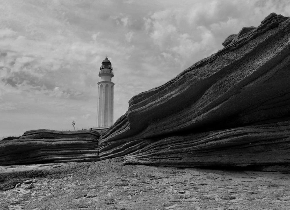 Cabo De Trafalgar lighthouse - black and white photo