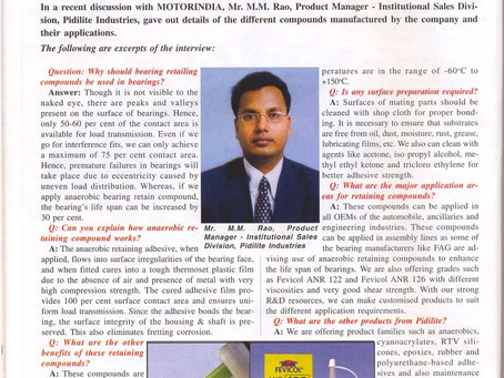12.Motor India : Pidilite Products Ensure Longer Life