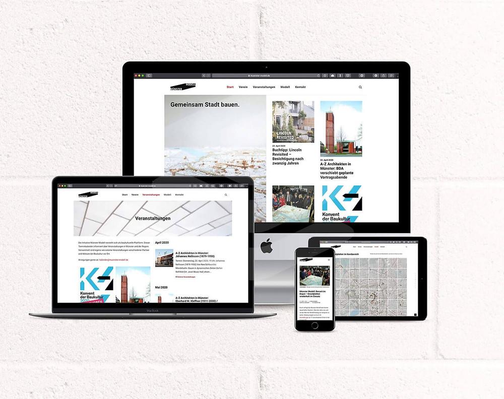 Responsive Webseite für Münster Modell - Desktop, Tablet, Smartphone