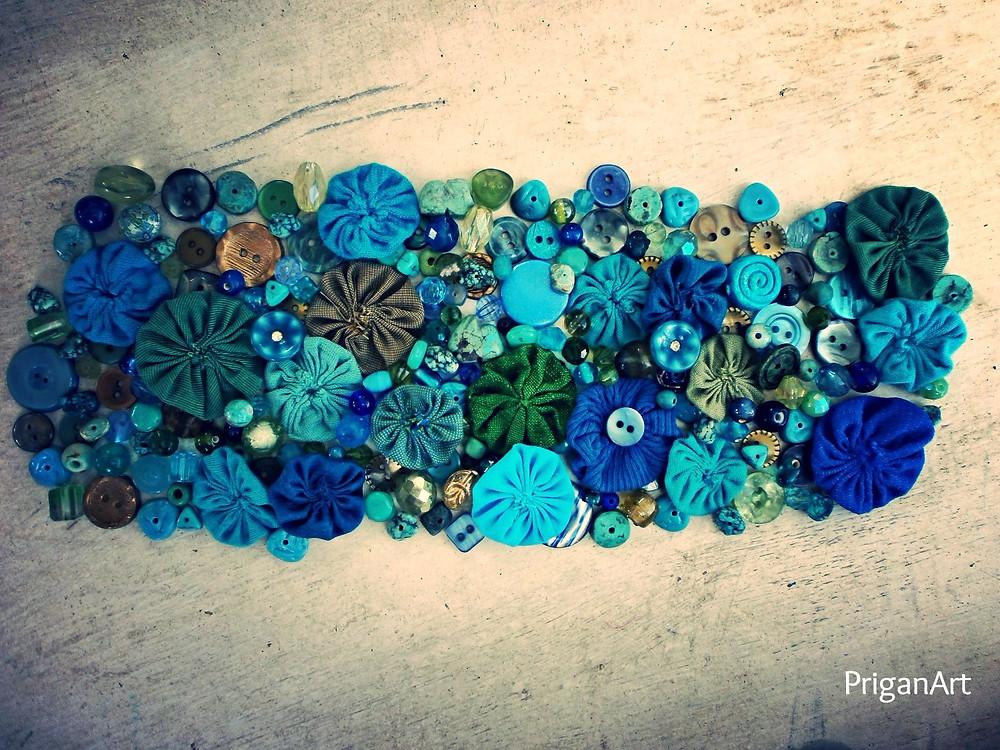 Ocean fabric collage