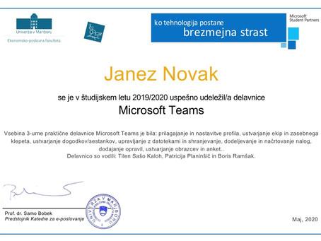 Uspešno izvedena delavnica Microsoft Teams
