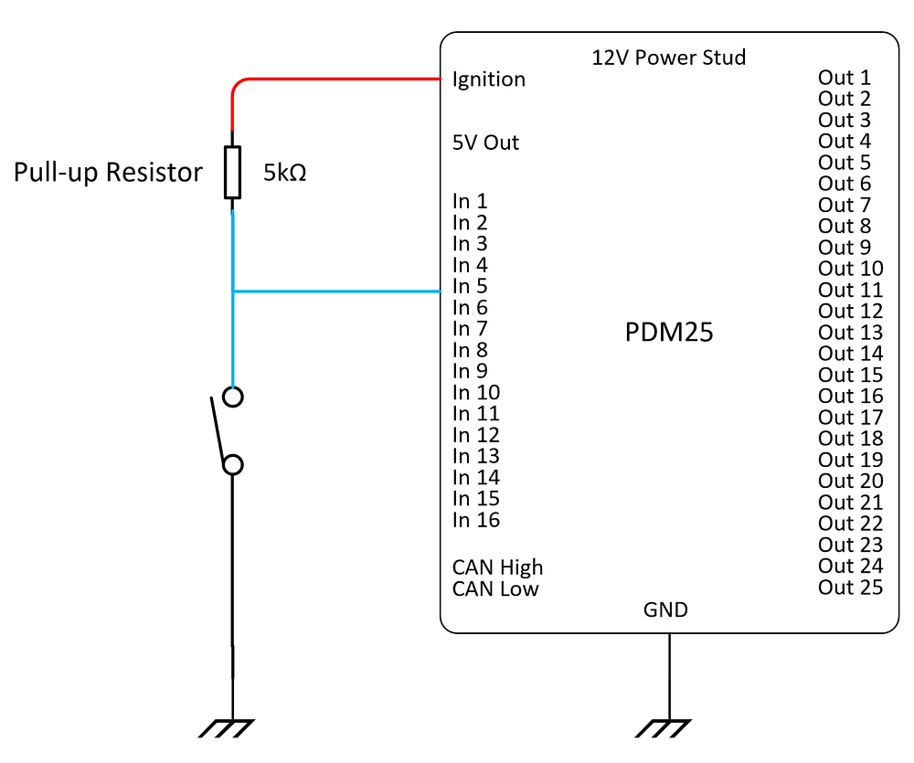 Pull Up Resistor for ground connected switches