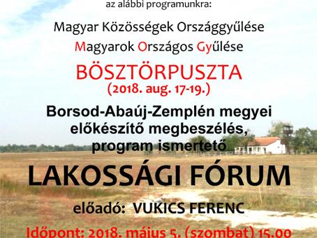MOGY 2018 – Borsod-Abaúj-Zemplén megyei előkészítő megbeszélés, program ismertető lakossági fórum