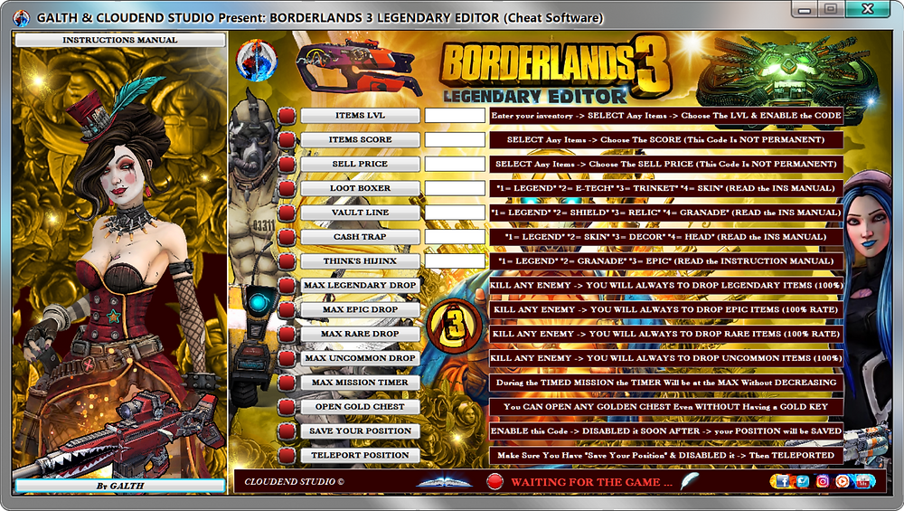 cloudend studio, Borderlands 3, Borderlands, cheats, trainer, code, mod, modded, tips, software, steam, pc, youtube, google, facebook, cheat engine, cheat table, free, script, tool, gameplay, game, dlc, unlock, Legendary Drop, items, rpg, cheat happens, eurogamer, 作弊, カンニング, カンニング竹山, tricher, tricks, engaños, トリック, 騙します, betrügen, trucchi, complete guide, 騙子, 사기꾼조심, 사기꾼들, 사기꾼, news, 100% drop Rate, ps4, xbox, Arms, Youtube Game, Google Stadia, Epic Games, hack, glitch, zane, gold keys, amara, moze, shooter, FL4K, Legendary Weapon Guide, All the Legendary weapons,