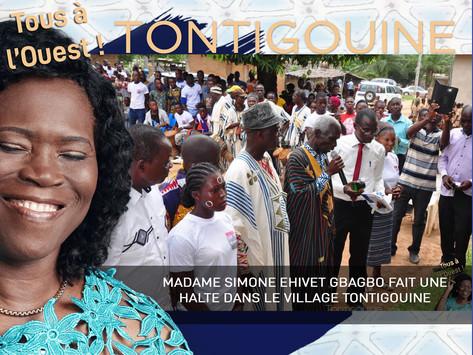 MADAME SIMONE EHIVET GBAGBO FAIT UNE HALTE DANS LE VILLAGE TONTIGOUINE