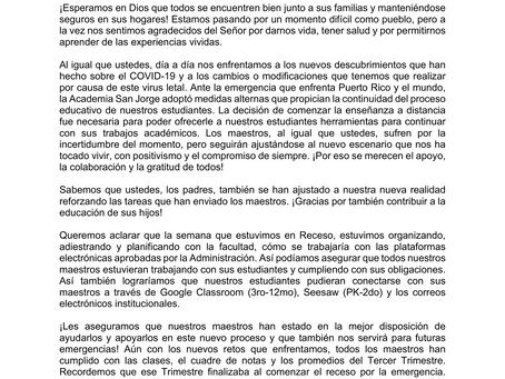 Comunicado a la Comunidad Escolar (4 abril 2020)