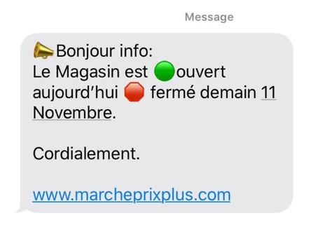 📣Bonjour info: Le Magasin est 🟢ouvert aujourd'hui mardi🛑 fermé demain/11 Novembre.  Cordialement.