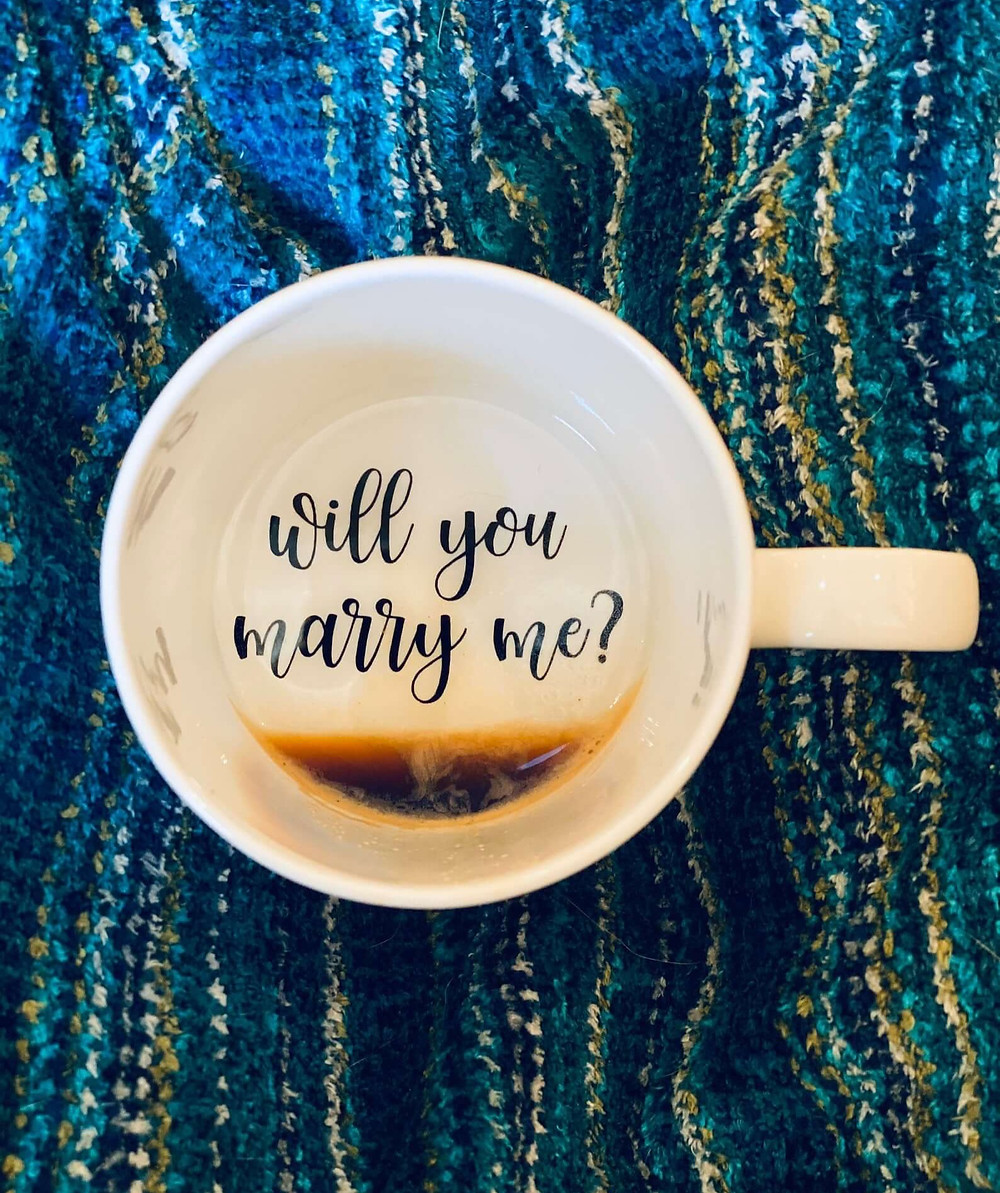 Proposal idea with coffee mug.